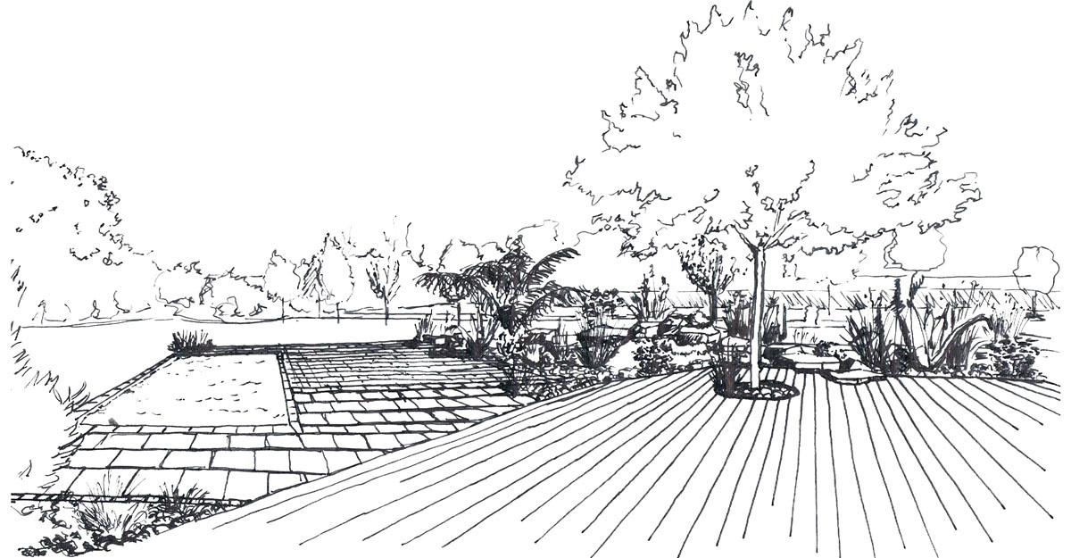 02 esquisse dessin piscine jardin - Jardin Dessin