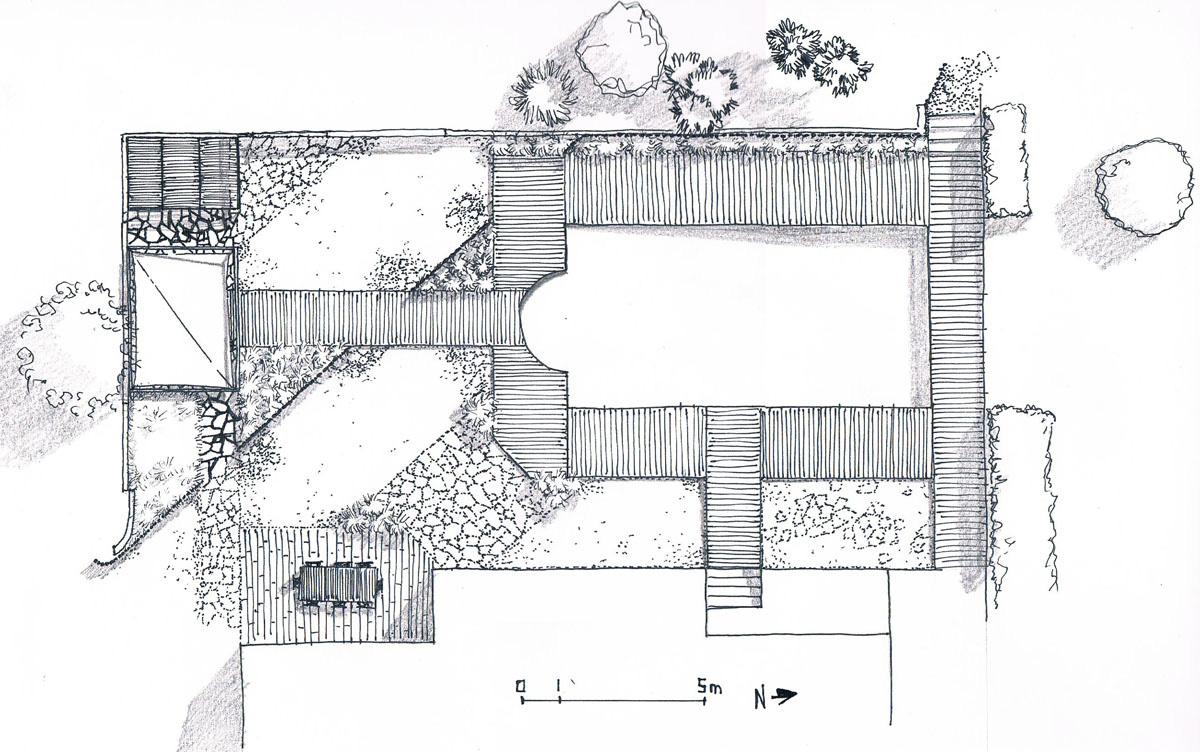 05 esquisse plan paysagiste concepteur le champ du platane for Paysagiste concepteur